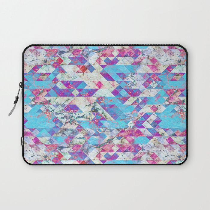 Blue magenta marble grungy triangles Laptop Sleeve