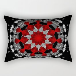 Bright Red Silver Star Flower Mandala Rectangular Pillow