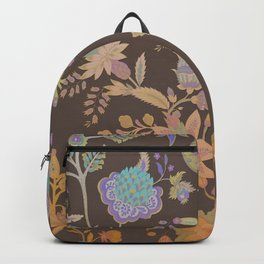 Chateau Brown Chinoiserie Decorative Floral Motif Chintz Backpack