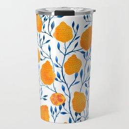 Lemons Botanical Pattern // Blue and Yellow Palette Travel Mug