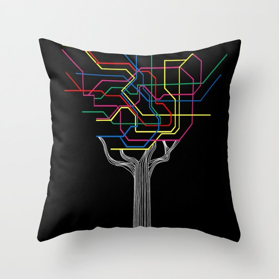 Modern Tree Throw Pillow