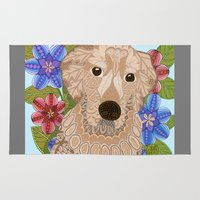 golden retriever Area & Throw Rugs featuring Golden Retriever by ArtLovePassion