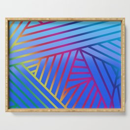 Rainbow Ombre Pattern with Blue Background Serving Tray