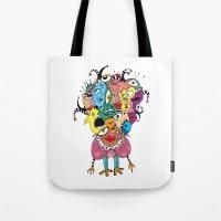 talking heads Tote Bags featuring Heads by R. Gorkem Gul