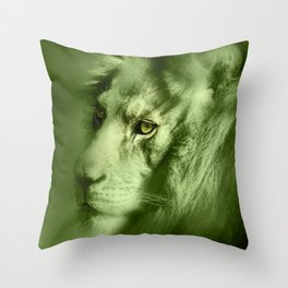 Fantasy Lion of Legend in Green-Glow Throw Pillow