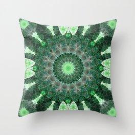 Emerald Shield Mandala Throw Pillow