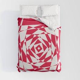 Red geometric illusion Duvet Cover