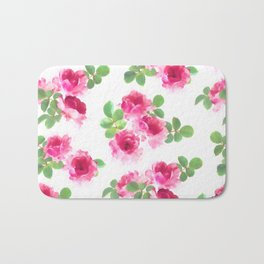 Raspberry Pink Painted Roses on White Bath Mat