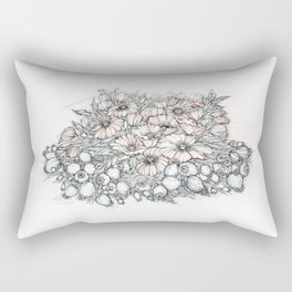 Poppies.Hand draw  ink and pen, Watercolor, on textured paper meditation Rectangular Pillow