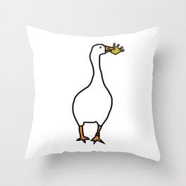 White Goose Steals Crown Throw Pillow