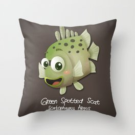 Green Spotted Scat Fish Throw Pillow