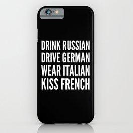 Russian German Italian French (Black & White) iPhone Case