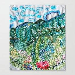 cheerful handmade embroidery in the digital world Canvas Print
