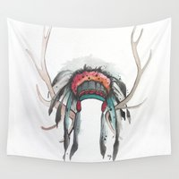 headdress Wall Tapestries featuring Antler Headdress by Nicole Gaitan
