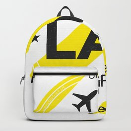LAX Los Angeles round sticker yellow Backpack