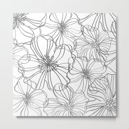 Floral, Line Art Drawing, Gray and White, Modern Print Art Metal Print