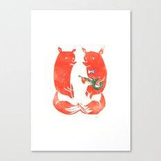 Mister Fox in love Canvas Print