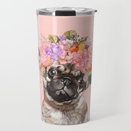 Pug with Flower Crown Travel Mug