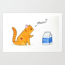 Begging Kitten, orange Art Print