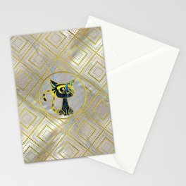 Gold Framed Cute Kitten On Mother of Pearl Stationery Cards