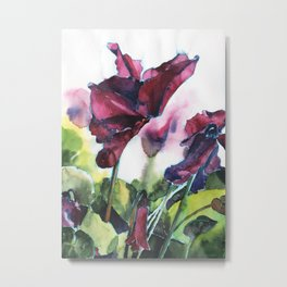 Cyclamen watercolor, pink flowers Metal Print