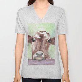 Cow portrait, farmhouse, country home, farm animal Unisex V-Neck