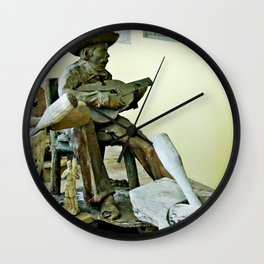 Jibaro Sculpture playing el Cuatro  Wall Clock