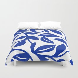 PALM LEAF VINE SWIRL BLUE AND WHITE PATTERN Duvet Cover