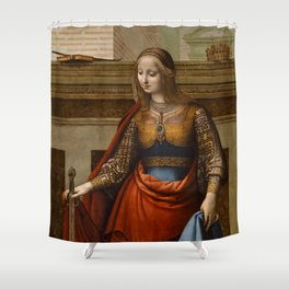 "Fernando Yáñez de la Almedina ""Saint Catherine of Alexandria"" Shower Curtain"