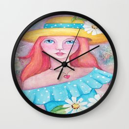 Whimsical Girl with Daisy's Wall Clock