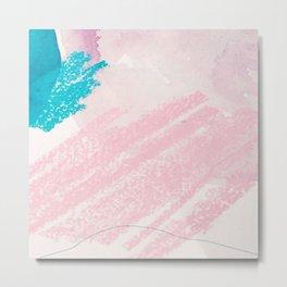 Elegant pink blue watercolor crayon abstract brushstrokes Metal Print