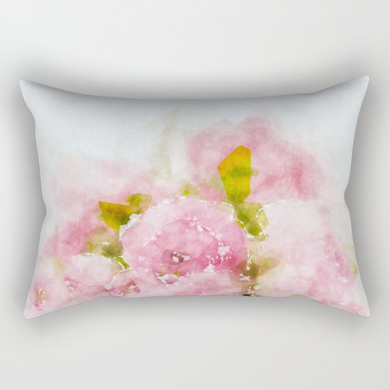 Rose treasure - Pink floral flowers on white background on #Society6 Rectangular Pillow