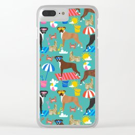 Boxer dog breed beach summer fun dogs boxers pet portrait pattern Clear iPhone Case