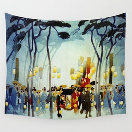 Japanese Covered Litter and Lanterns Wall Tapestry