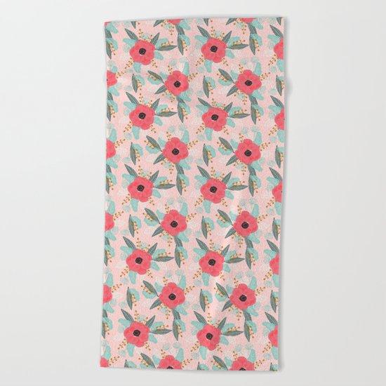 Poppies pink pastel red florals flowers pattern boho dorm college trendy garden plants poppy flower Beach Towel