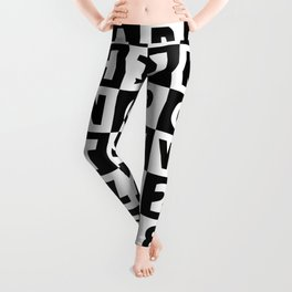 Alphabet Black and White Leggings