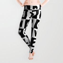 Alphabet Black and White Leggings