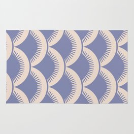 Japanese Fan Pattern Lavender and Beige Rug