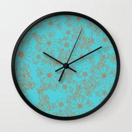 Modern orange aqua hand drawn floral Wall Clock