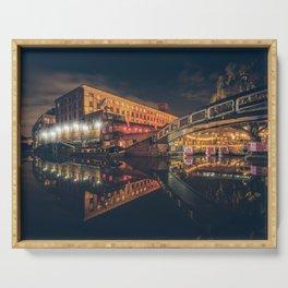Camden Lock reflection at night Serving Tray