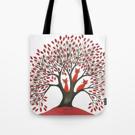 Red Oak Whimsical Cats in Tree Tote Bag