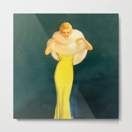 """Pinup by Rolf Armstrong """"The Fur Stole"""" Metal Print"""