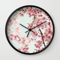 cherry blossoms Wall Clocks featuring Cherry blossoms by Photography by Karin A