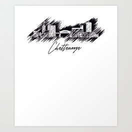 Chattanooga graphic scribble skyline in black Art Print