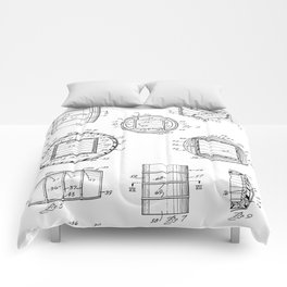 Whisky Barrel Patent - Whisky Art - Black And White Comforters