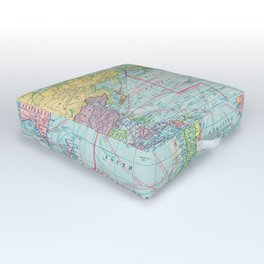 Vintage Map of The World (1901) Outdoor Floor Cushion