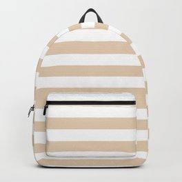 Narrow Horizontal Stripes - White and Pastel Brown Backpack