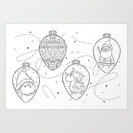 Colouring In Baubles Art Print