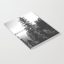 Mountain Lake Forest Black and White Nature Photography Notebook