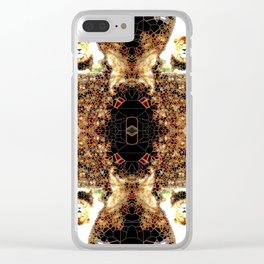 Stained Glass Lion Pattern Clear iPhone Case